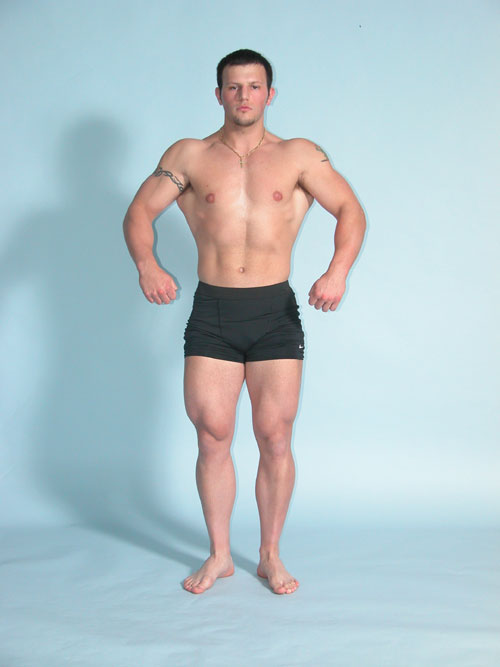 front relaxed bodybuilding pose